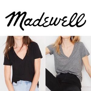MADEWELL TWO V Neck Cotton T Shirts Black Gray Med